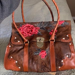 Patricia Nash Euro Western Rose Appliqué Purse